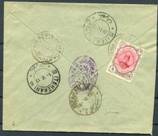 1913 Persia Ahmad Shah 6ch Cover. Kazvin - Teheran - Isfahan - Iran