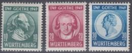 FranzZone WÜRTTEMBERG 44-46, Ungebraucht *, Goethe 1949 - Zone Française