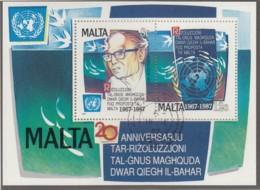 MALTA Block 10, Gestempelt, 20 Jahre Meeresboden-Vertrag 1987 - Malta