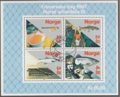 NORWEGEN Block 8, Gestempelt, Tag Der Briefmarke; Das Norwegische Berufsleben (III) - Die Fischzucht 1987 - Blocs-feuillets