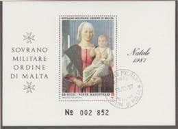 MALTESERORDEN Block, Gestempelt, Weihnachten 1987 - Malta (Orden Von)