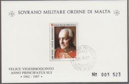 MALTESERORDEN Block, Gestempelt, Felice Vigesimoquinto, Großmeister 1987 - Malta (Orden Von)