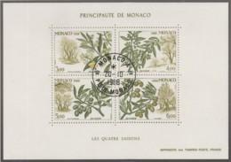 MONACO, Block 41, Gestempelt, Die Vier Jahreszeiten: Olivenzweig 1988 - Blocks & Kleinbögen