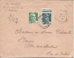 5F Vert Clair N°806 + 2F Vert N°713 RECOMMANDE PROVISOIRE 18 4 1945 Tarif 7.00F PARIS X - 1945-54 Marianne De Gandon