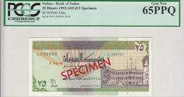 SUDAN 25 DINARS 1992 P-53bs SPECIMEN TYPE A . GEM UNC 65 PPQ */* - Soudan