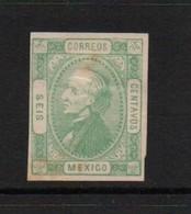 Mexico 1872 6 Cent Green. Unused. No Gum.   Spacefiller . - Mexique