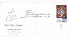 "HOTEL SALTO GRANDE. ENVELOPE CIRCULEE CIRCA 2000 L'ARGENTINE PRIVATE MAIL ""CORREO ANDREANI"" STAMP VIRGEN DE LUJAN- BLEUP - Christianisme"