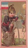Chromo Image ..  Pompier De Paris, Pompe Incendie, Lance Eau - Chromos