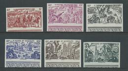 St Pierre & Miquelon 1946 Du Tchad Au Rhin Set Of 6 Imperforate Marginal MNH , 25 Fr With Gum Mark - Unused Stamps