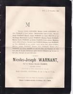 HUY Révolution 1830 Nicolas-Joseph WARNANT Veuf CHAINAYE Ancien Avoué  77 Ans 1885 Croix Commémorative Combattants 1830 - Décès