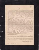 RENNES Georges HUCHET Marquis De Cintré 87 Ans 1893 Lettre Mortuaire De VAUCELLE - Décès