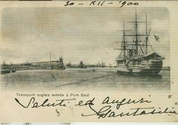 """TRANSPORT ANGLAIS ENTREE A PORT SAID"", B/N, VIAGGIATA  1900, PER VENEZIA (ITALIA)-POSTES EGYPTIENNES 2+2,EGYPTIAN CIGAR - Port Said"