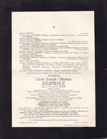 PERUWELZ HEVERLE Léon DUPRIEZ  1863-1942 Professeur Université De Louvain époux  VERRIEST - Décès