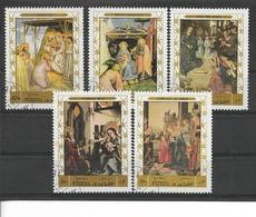 FUJEIRA 1970 / TABLEAUX / Lot 5 Timbres Oblitérés : Giotto, B.Angelico, Van Der Goes, K. Witz Et L. Di Crédi./PRIFIXE !! - Fujeira
