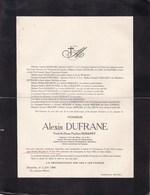 FRAMERIES BRUXELLES Alexis DUFRANE Veuf DEMANET 1860-1944 Ancien Directeur De Charbonnages CAMPINE - Décès