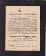 AMPSIN NAMUR HAVELANGE Jeanne DOR Veuve Charles SEPULCHRE 1865-1943 - Décès