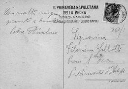 1961  CARTOLINA CON ANNULLO  NAPOLI     + TARGHETTA  PRIMAVERA NAPOLETANA - 6. 1946-.. Repubblica