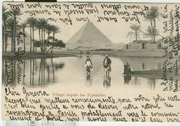 """"""" VILLAGE AUPRES DES PYRAMIDES""""B/N VIAGGIATA 1902,TIMBRO GRAND CONTINENTAL HOTEL,CAIRO,PER VENEZIA (ITALIA),UPU EGYPTE - Pyramids"""