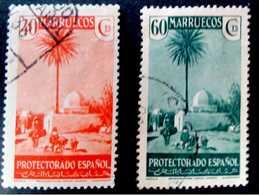 Marruecos 1935-37. Edifil 155 Y 157.40 Cts Naranja  Y 60 Cts Verde. - Marocco Spagnolo