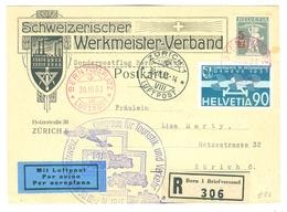 1933 Switzerland Registered Air Card Schweizerischer Werkmeister-Verband, Kongress Fur Touristik Cachet. 90c Air - Luftpost