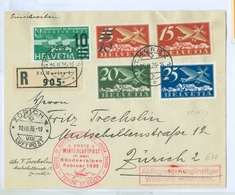 1935 Switzerland Registered Air Cover, First Winter Airmail To Grison. Multistamped High Cv - Luftpost
