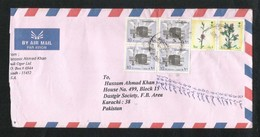 Saudi Arabia Air Mail Postal Used Cover Riyadh To Pakistan Holy Mosque Ka'aba Mecca Islamic Flower Flowers - Arabie Saoudite