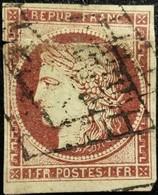 FRANCE Y&T N°6 Cérès 1 Fr. Carmin. Oblitéré Grille Côte De Veau 1000 Euros :)) - 1849-1850 Cérès