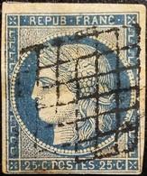 FRANCE Y&T N°4 Cérès 25c Bleu Foncé. Oblitéré Grille - 1849-1850 Ceres
