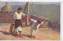 """AK 0104  Maximovicz , Eug. - Am Brunnen """" Aus Der Bukowina """" / Künstlerkarte Um 1910-20 - Künstlerkarten"""