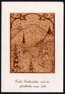 C0735 - TOP Lajos Kovacs Glückwunschkarte Weihnachten - Original Holzbrand - Klappkarte Künstlerkarte - Ansichtskarten