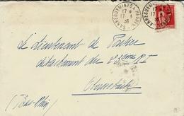 1936- Enveloppe Affr. 50 C Paix Oblit. Cad Ambulant SARREGUEMINES A HAGUENAU - Marcophilie (Lettres)