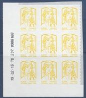 N° 847 Marianne Adhésif Année 2013, Valeur Faciale 0,01x 09 Coin Daté 19/02/15 - France