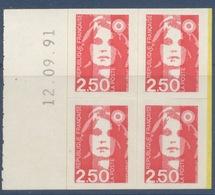 N° 3 Marianne Du Bicentenaire Adhésif Année 1991, Valeur Faciale 2,50 F X 4 Date 12/09/1991 - France