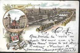 Souvenir De PARIS - Multi-vues 1900 - Vue Générale De Paris, Moulin Rouge  CPA 1901 Cachet Dombasle Sur Meurthe - Manifestations