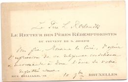 Visitekaartje - Carte Visite - Le Recteur Des Pères Rédemptoristes Couvent St Joseph - Bruxelles - Cartes De Visite