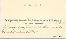 Visitekaartje - Carte Visite - Overste Zusters H. Vincentius - Deftinge - Cartes De Visite