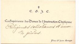 Visitekaartje - Carte Visite - La Supérieure Dames De L'Instruction Chretienne - Bruges - Brugge - Cartes De Visite