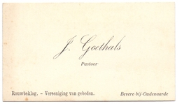 Visitekaartje - Carte Visite - Pastoor J. Goethals - Bevere Bij Oudenaarde - Cartes De Visite