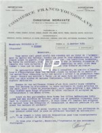 24-0348   1919 COMMERCE FRANCO YOUGOSLAVE CHRISTOPHE MORAVATZ A PARIS - M. FOUCAULD A COGNAC - France