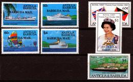 BARBUDA  2  X  SETS   MNH            SHIPS   ROYAL VISIT - Antigua Et Barbuda (1981-...)