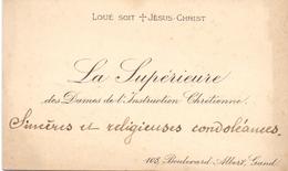 Visitekaartje - Carte Visite - La Supérieure Dames De L'Instruction Chrétienne Gand - Gent - Cartes De Visite