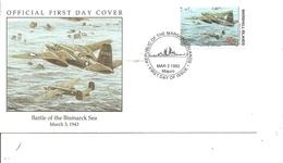 Guerre 40/45 - Bataille De La Mer De Bismarck -Avions De Combat ( FDC Des Marshall De 1993 à Voir) - Guerre Mondiale (Seconde)