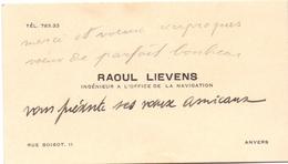 Visitekaartje - Carte Visite - Ingenieur Raoul Lievens - Anvers Antwerpen - Cartes De Visite