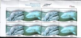 2012 MÉXICO - COREA EMISIÓN CONJUNTA  Ballena Gris Gray Whale México Korea,  JOINT ISSUES* MARINE LIFE, 4 Pairs  MNH - Mexique