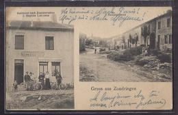 CPA 57 - ZONDRINGEN - GRUSS AUS - TB CP 2 Vues Dont Sattlerei Und Restauration Lecomte + Hauptstrasse ANIMATION MOTO - France