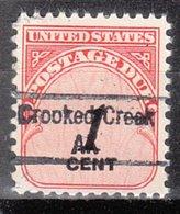 USA Precancel Vorausentwertung Preo, Locals Alaska, Crooked Creek 843 - Vereinigte Staaten