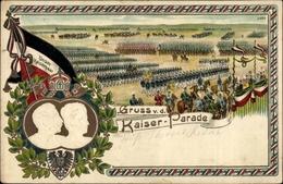 Gaufré Lithographie Gruß Von Der Kaiserparade, Kaiser Wilhelm II. Von Preußen, Fahne - Familles Royales
