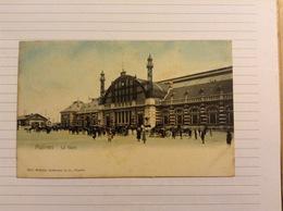 +postkaart, Mechelen Station, Gelopen 1906, Zegel 1 Cent Nr, 53 - Malines