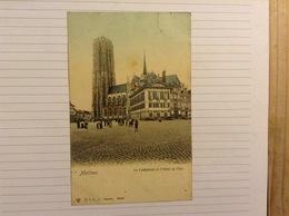 +postkaart, Mechelen Kathedraal En Hotel De Ville, Gelopen 1906, Zegel 1 Cent Nr, 53 - Malines