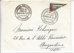 JUMELAGE ANGOULEME-BURY - 30.MAI.1960 - AFFRANCHISSEMENT AVEC 1/2 TIMBRE EN DIAGONALE - Curiosidades: 1960-69 Cartas